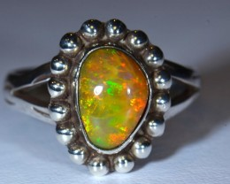 Sz 9.5 Pink Honeycomb Ethiopian Opal .925 Silver Handmade Ring