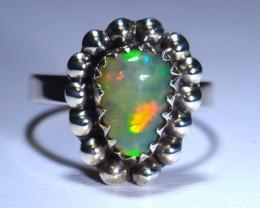 5.75sz Fern & Plume Ethiopian Opal .925 Silver Taxco Handmade Quality R