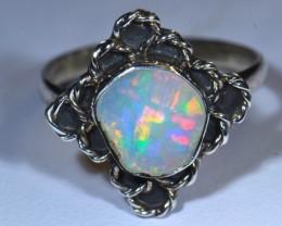 11.5sz Quality Ethiopian Opal .925 Silver Taxco Handmade Quality Ring