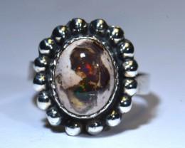 6.5sz Quality Ethiopian Opal .925 Silver Taxco Handmade Quality Ring