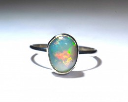 8sz Mexican Fire Opal .925 Silver Taxco Handmade Quality Ring