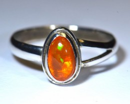 7sz Mexican Fire Opal .925 Silver Taxco Handmade Quality Ring