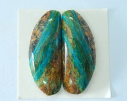 47.5ct Natural Blue Opal Cabochon Pair, Semiprecious Stone Fashion Jewelry