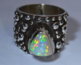 Sz9 Eyecandy Ethiopian Opal .925 Silver Taxco Handmade Quality Ring