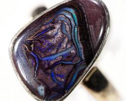 6.5 SIZE BOULDER OPAL RING -NATURAL-SILVER [SOJ5887]