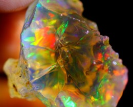 28Ct Rainbow Flash Ethiopian Welo Rough Specimen Rough Opal