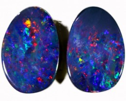 Lovely multi colour play Pair Opal Doublet  BB63