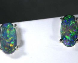 3.6 CTS BLACK OPAL SILVER EARRINGS OF-2071