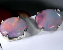 9.1 CTS SEMI-BLACK OPAL SILVER EARRINGS OF-2073