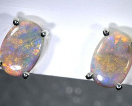 5.8 CTS DARK SOLID OPAL SILVER EARRINGS OF-2076