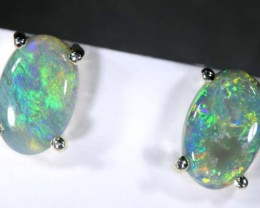 5.9 CTS BLACK OPAL SILVER EARRINGS OF-2078