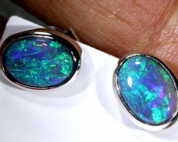 11.7 CTS BLACK OPAL SILVER EARRINGS OF-2079