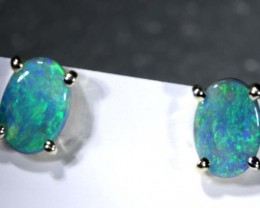 5.8 CTS BLACK OPAL SILVER EARRINGS OF-2080