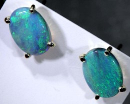 5 CTS DARK SOLID OPAL SILVER EARRINGS OF-2081