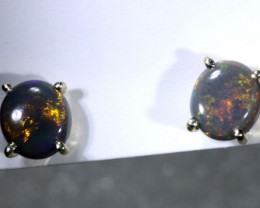 4.2 CTS BLACK OPAL SILVER EARRINGS OF-2082