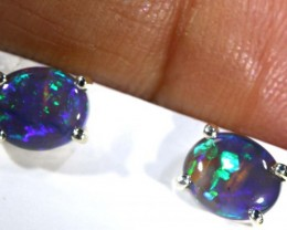 4.8 CTS BLACK OPAL SILVER EARRINGS OF-2083