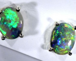 5 CTS DARK SOLID OPAL SILVER EARRINGS OF-2085