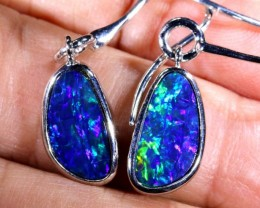 19.4 CTS DOUBLET OPAL SILVER EARRINGS ANO-496