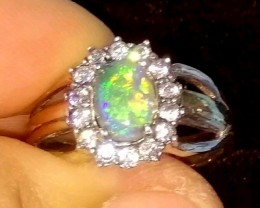 Solid AUSTRALIAN OPAL RING TWO TONE 925-9K
