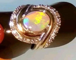 Opal Ring Natural Solid Australian Opal  Sterling Silver and 9K Gold