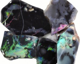 59.60 CTS BLACK  OPAL ROUGH PARCEL -RUBBED/FACED PICTURE STONES[BR5726]