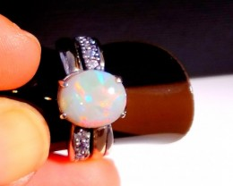 Natural Australian Opal Ring Sterling Silver and 9K Gold