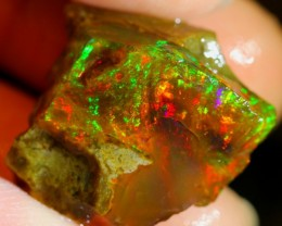 19carats Neon Multi-color Ethiopian Rough Specimen Opal / Untreated