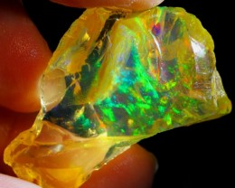 37carats Inner Red Fire Flash Ethiopian Rough Specimen Opal / Untreated