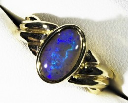 Black Crystal  Opal set in 18k Gold Ring Size 7 A 80A