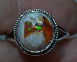 Sz 12.5 Natural Mexican Opal .925 Silver Taxco Handmade Boho Ring Jewelry