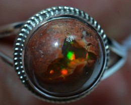 Sz 11.5 Natural Mexican Opal .925 Silver Taxco Handmade Boho Ring Jewelry
