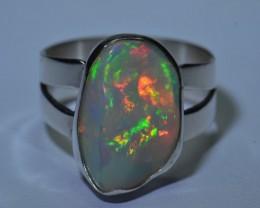 Sz 7.5 Natural Ethiopian Opal .925 Silver Taxco Handmade Boho Ring Women's