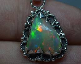 Large Ethiopian Welo Opal .925 Sterling Silver Pendant Mexican Taxco
