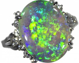 GORGEOUS OPAL RING CRYSTAL OPAL SET IN PLATINUM SB1014