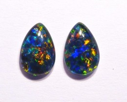 Pair of Australian Opal Triplets Gem Grade 9x6mm Pear Shape
