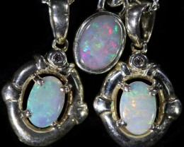 39.40 CTS Three Cute Crystal Opal into Sterling Silver pendant CF1425