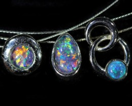 Three Cute Opal Triplet  into Sterling Silver pendant CF1430