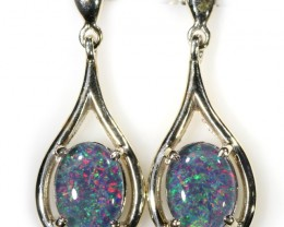 Gem Opal Triplet set in Silver Earring CF1443