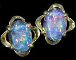 Gem Opal Triplet set in Silver Earring CF1457