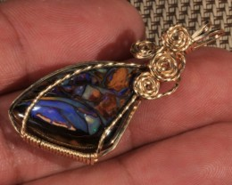 21CT~ELEGANT 14K PENDANT~WIRE WRAPPED KOROIT OPAL