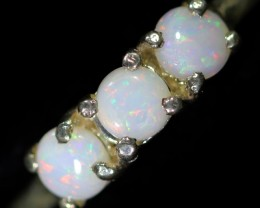 FIRE CRYSTAL OPAL SILVER RING  SIZE 6.5 CF1481