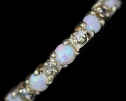 CRYSTAL OPAL SILVER RING SIZE 6.75 CF1489
