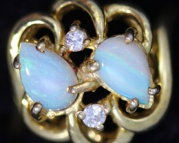 CRYSTAL OPAL G/P SILVER RING SIZE 5  CF1491