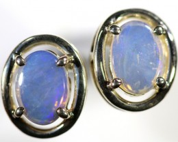 Crystal opal earrings set in silver CF1495