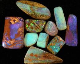 10pcs 35ct Pipe Wood Fossil Boulder Opal Parcel [LOB-829]