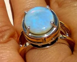 AUSTRALIAN OPAL RING TWO TONE 925-9K solid Natural Opal