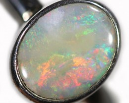 SOLID BLACK OPAL RING SET IN SILVER SOJ5958