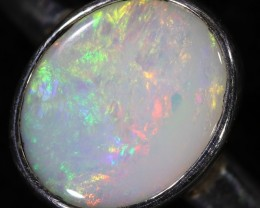 SOLID BLACK OPAL RING SET IN SILVER SOJ5959