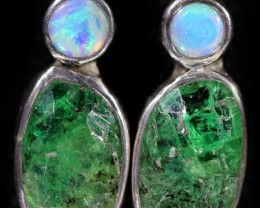 15.80 cts CRYSTAL OPAL AND EMERALD EARRINGS-FACTORY DIRECT  [SOJ5969]