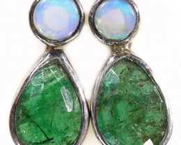 13.50 cts CRYSTAL OPAL AND EMERALD EARRINGS-FACTORY DIRECT  [SOJ5968]